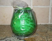 Colored Victorian glass soy candle