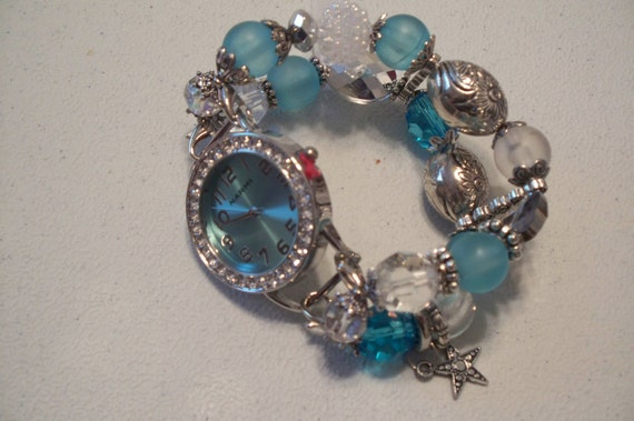 Aqua and Silver -  Interchangeable Chunky Beaded Watch Band and Face.