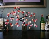 Brown Weeping Cherry Blossom with Pink Red and White Origami Flowers