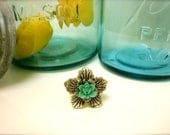 Silver and Teal Flower-Silver Stretchy Ring