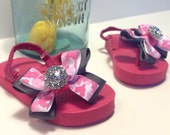 Little Girl Pink and Grey Camouflage Bow Flip Flops with Rhinestone