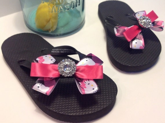 Little Girl Pink and Black Hello Kitty Bow Flip Flops with Rhinestone