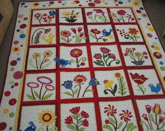 Bird and flower quilt