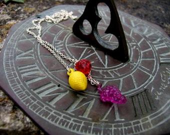 Retro fruit charm necklace