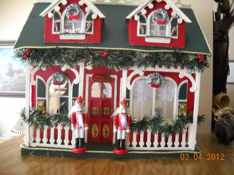 Items similar to Minature Christmas Dollhouse fully ...