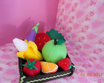 Felt food play fruit vegetables set children eggplant organic tomato strawberry  banana smith apple lettuce slices)