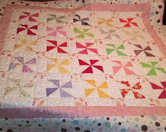 Hand-Quilted Pinwheel Baby Quilt