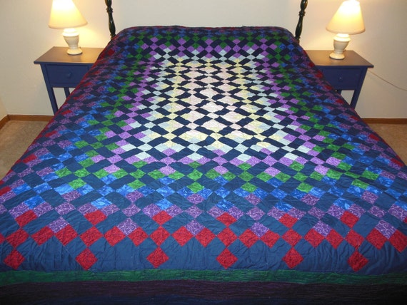 Stained Glass Rainbow Full Size Quilt Customizable