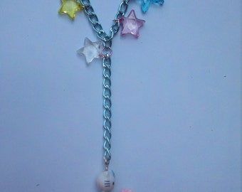 SALE was 25 now 15.00! kitty necklace with rocking horse,kawaii cat necklace,kawaii necklace