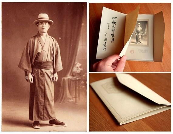"Japanese photo folding frame card portrait. Antique Dated 1931. 4"" x 6.4"""