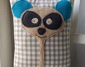 SALE-Little handmade Panda cushion eco-friendly cream cotton