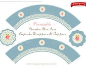 PRINTABLE CUPCAKE Toppers and wraps blue and lace design