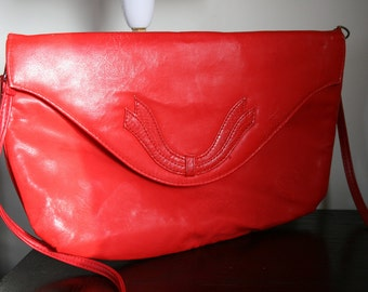 Vintage Red Oversize Clutch Bag Southwestern Style With Removable Strap