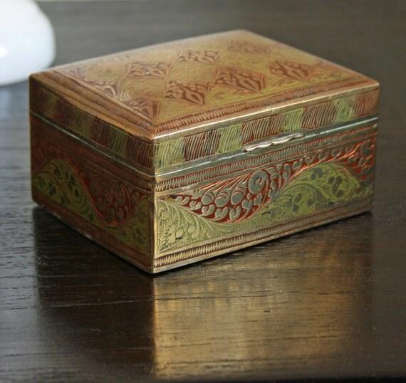 Vintage Rectangular Ornate Brass Box With Wooden Interior
