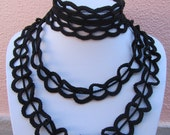 OOAK Black  Crochet Necklace - Contemporary accessory - Spring and summer fashion - free shipping