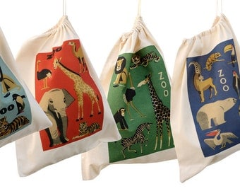 Animal design cotton drawstring bags, kit bags for kids