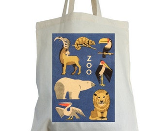 Cotton tote bag, navy ZOO design, ideal book bag, school bag, shopping bag, kit bag.