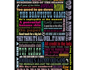 Football print, popular football quotes and sayings - typographic football poster - A2 size print