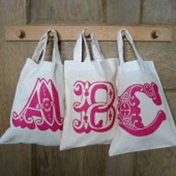 Personalized favour bags, mini cotton totes, for valentine gifts, wedding favours, bridal showers and party bags