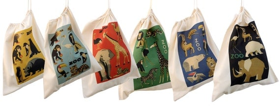 Animal design cotton drawstring bags, kit bags for kids
