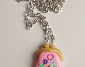 Spring purse charm necklace