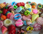 10 Assorted Polymer Clay Charms Food,Donuts,Fruits ,Pies,chocolate