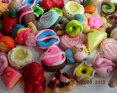Assorted Polymer Clay Charms Food,Donuts,Fruits ,Pies,chocolate,candy (20)