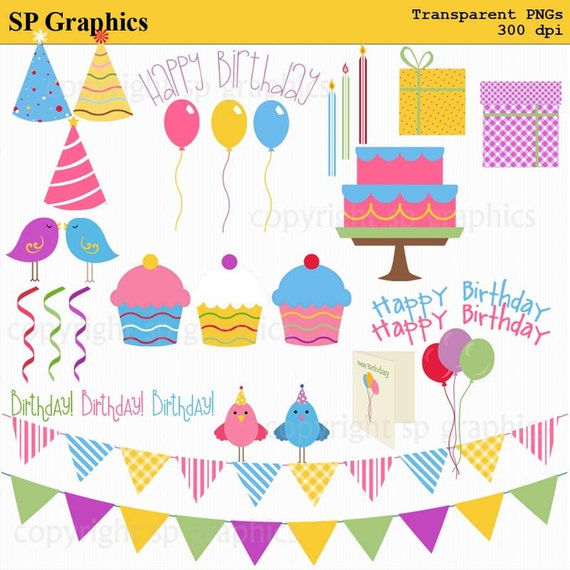 Birthday Party, Happy Birthday - clipart for cards, scrapbooking, invites, general craft work