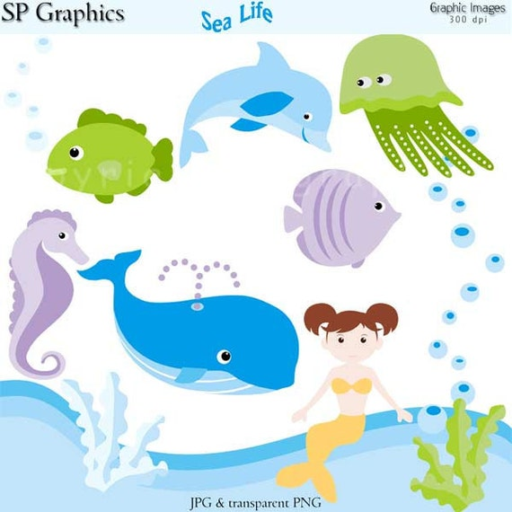 Sea Life -  digital clipart for cards, scrapbooking, stationery, paper crafts