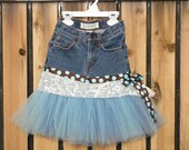 Denim Tutu Skirt - Recycled Blue Jeans - Size 5 - Style DTS4