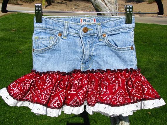 CLEARANCE SALE / Girls Denim Skirt - Recycled Clothing - Girls Size 4T Denim Skirt - Cowboy Print Skirt - Style DRS4
