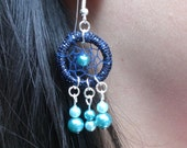 Dreamcatcher earrings Water Fairy in metallic blue