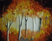 Contemporary fiber wall art , wet felted, abstract trees, trees in fall,  September light