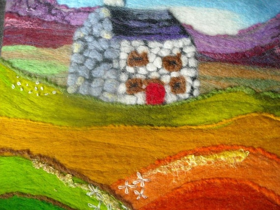 original textile Naive landscape, contemporary felt fibre art, House in the hills