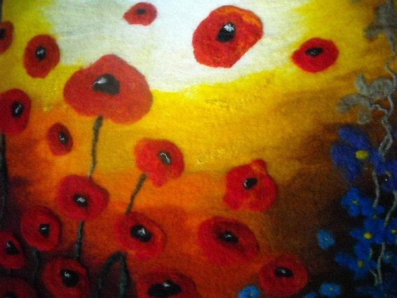 Poppies,contemporary art, abstract art, floral picture,felt art, fiber art, floral picture