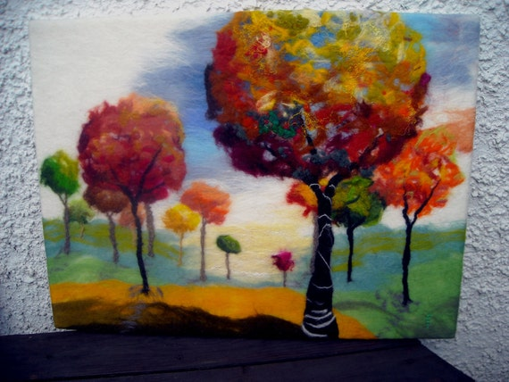 felt wall art, contemporary art, abstract trees, fibre art, autumn landscape, Rainbow forest