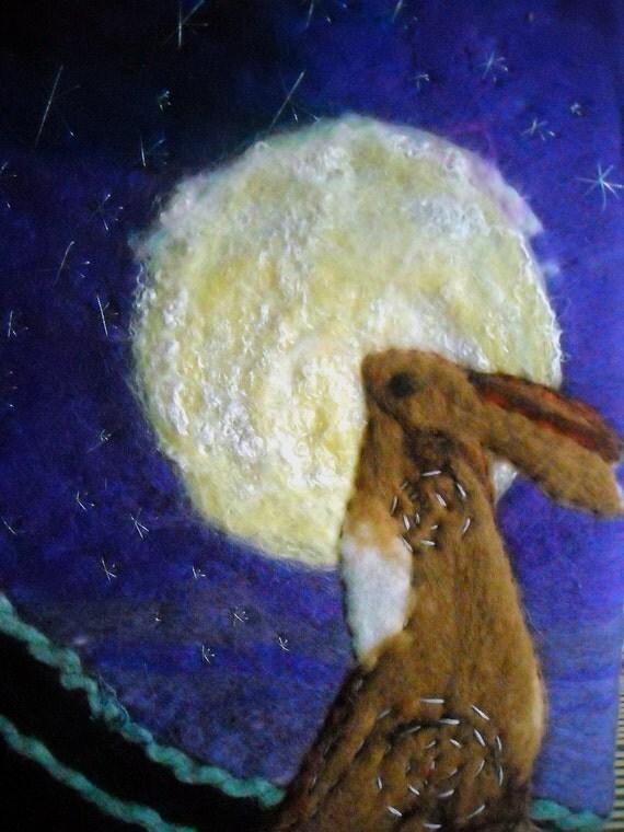 felt art, moon gazing hare, starry skies, fibre wall art, hare picture,naive art,primitive art