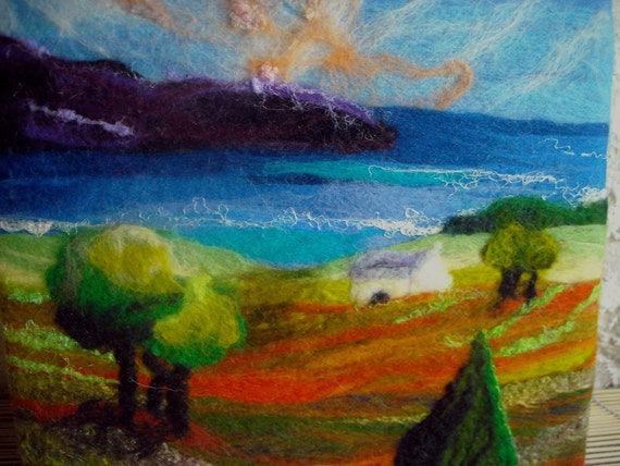 original, naive welsh landscape, fibre art, textile art, wet felted wall art, deep edge canvas sea view