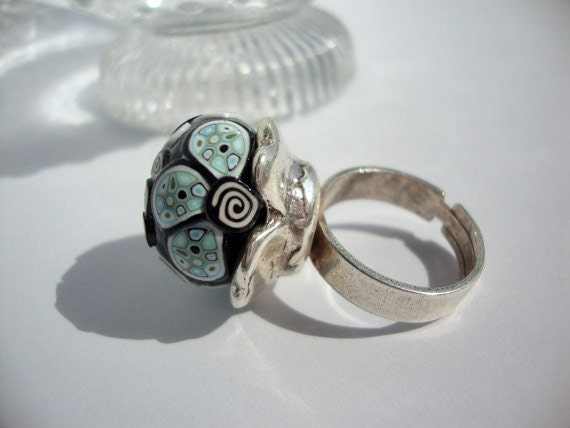 "Polymer clay flowers and mosaics adjustable ring ""Carolina"" collection"