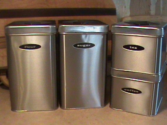 brushed stainless steel 4 piece kitchen canister set with
