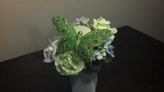 Butterfly Fascinator Tea Party Mini Top Hat Green
