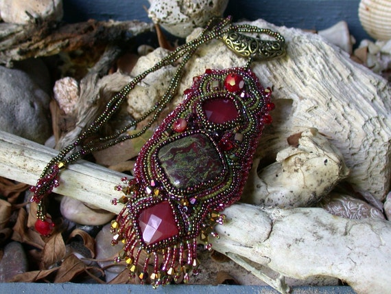 Dragon's Blood Talisman--Bead Embroidery necklace/pendant