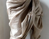Cotton scarf in taupe (large) with hand-painted Passiflora