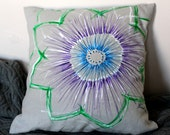 Grey Linen cushion (small) with hand-painted flower