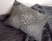 Grey Linen cushion (small) with hand-painted flowers