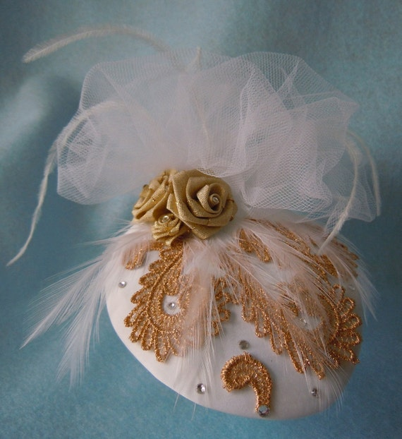 Stunning Gold and White Hat Fascinator
