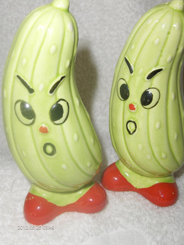 Vintage Angry Cucumber Salt N Pepper Shakers Ebay