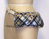 Belt Bag - light blue plaid - recycled plastic bottles fabric