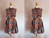 Vintage lovely day dress / Gray Red Purple / Floral and fruit print / Small-Medium