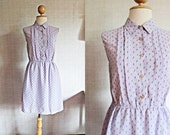 Lovely Vintage Day Dress / Light Purple / Small Flower Print / Small